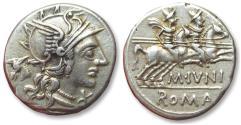 Ancient Coins - AR denarius M. Iunius Silanus. Rome mint 145 B.C. - attractive quality coin -
