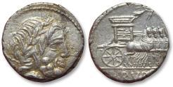 Ancient Coins - AR denarius L. Rubrius Dossenus, Rome 87 B.C.