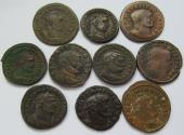 Ancient Coins - Lot of 10x large AE follis of the Roman Empire -- various emperors and types --