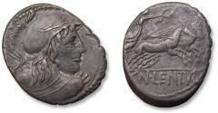 Ancient Coins - AR denarius Cn. Cornelius Lentulus Clodianus, Rome 88 B.C. - great obverse protrait -