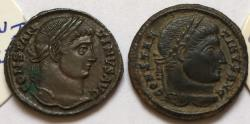 Ancient Coins - Group of 2 Æ Folles Constantine I 306-337 AD - great quality, with original sale tickets, Siscia & Sirmium mints