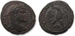 Ancient Coins - AR Tetradrachm, Caracalla - beautiful sharp strike, Ram's head between legs of eagle - Damascus (Syria) 215-217 A.D. -
