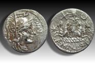 Ancient Coins - AR denarius A. Manlius Q.f. Sergianus, Rome 118-107 B.C. - very rare Republican issue -
