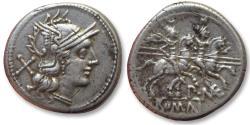 Ancient Coins - AR denarius P.MAE series, Rome 194-190 B.C.