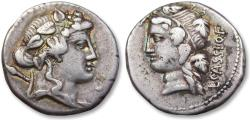 Ancient Coins - AR Denarius, L. Cassius Longinus. Rome 78 B.C. - great example of this type -