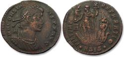 Ancient Coins - AE 25mm centenionalis Constans, Siscia mint 348-350 A.D. -- Emperor on galley --