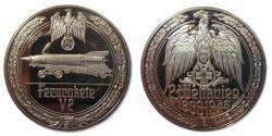 World Coins - 50mm Silver medal WW2: Secret weapon V2, first long range ballistic missile