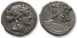 Ancient Coins - AR denarius M. Volteius M.f., Rome 78 B.C. -- snake biga --