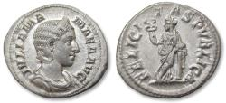 Ancient Coins - AR denarius Julia Mamaea, Rome 222-235 A.D. - near mint state, with lustre in fields, Ex HD Rauch (with ticket) -