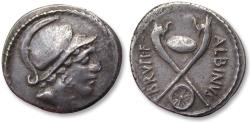 Ancient Coins - AR denarius Albinus Bruti f., Rome 48 B.C. - shield & carnyx reverse, greatly struck for the type -