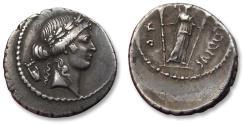 Ancient Coins - AR Denarius, P. Clodius M.f. Turrinus. Rome 42 B.C.