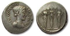 Ancient Coins - AR denarius, P. Accoleius Lariscolus, Rome 43 B.C. - struck from fresh dies -