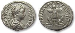 Ancient Coins - AR denarius Caracalla, Rome 201 A.D. -- trophy & captives --