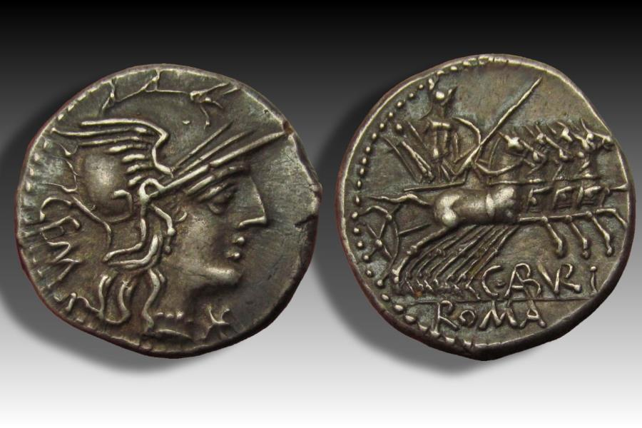 Ancient Coins - AR denarius C. Aburius Geminus, Rome 134 B.C. - near mint state & from old Dutch collection -