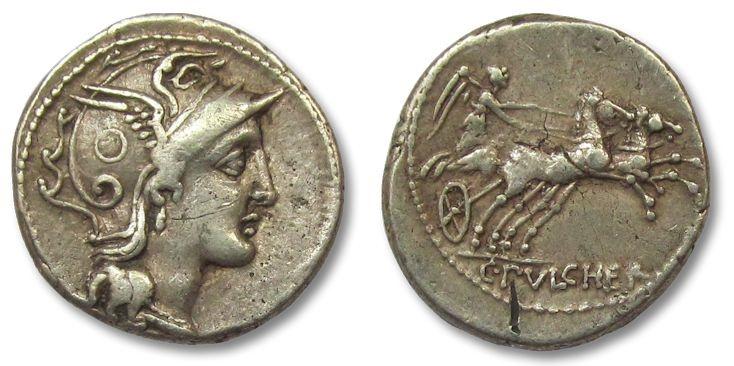 Ancient Coins - HS: AR denarius C. Claudius Pulcher, Rome 110-109 B.C.