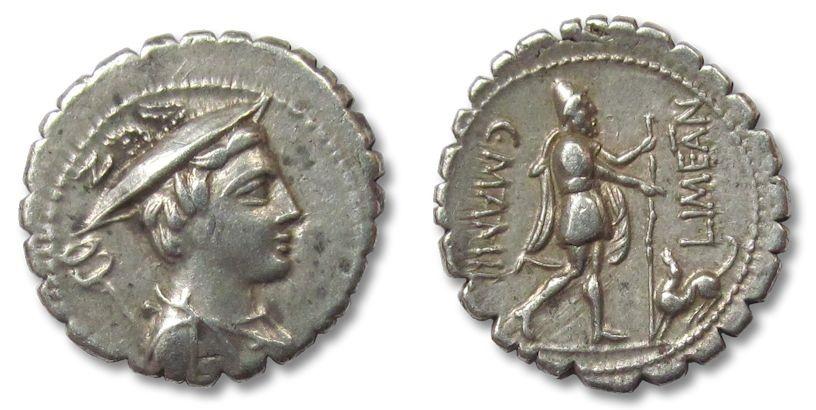 Ancient Coins - AR denarius C. Mamilius Limetanus, Rome 82 B.C.