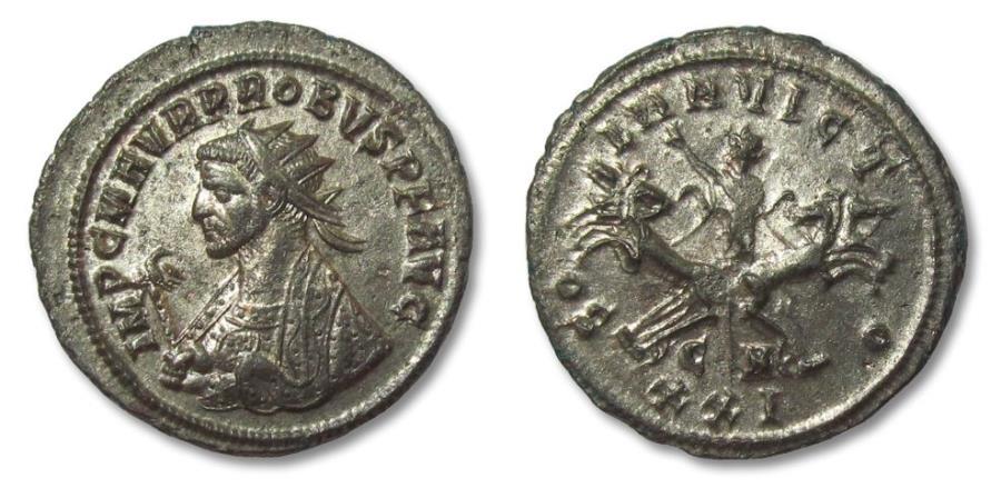 Ancient Coins - PROBUS, CYZICUS mint 276-282 A.D. facing quadriga AE silvered antoninianus