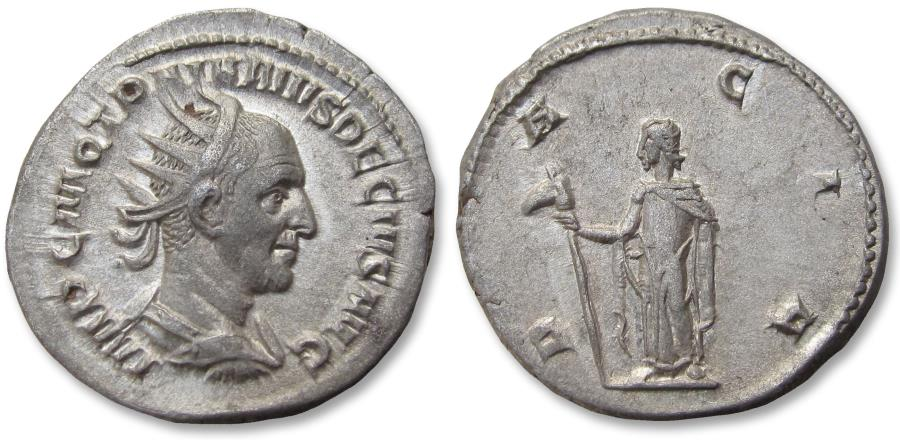 Ancient Coins - AR antoninianus Trajan Decius - near mint state & very heavy almost 6 gram - Rome mint 249-250 A.D. - DACIA, variety with Dacia holding staff with wolf's head (=draco) -