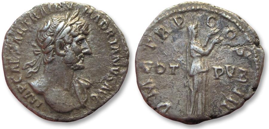 Ancient Coins - AR denarius Hadrian. Rome 119-122 A.D. - VOT PVB in fields -
