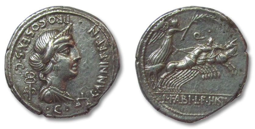 Ancient Coins - AR denarius C. Annius T.f. T.n. and L. Fabius L.f. Hispaniensis, North Italy/Spain 82-81 B.C. --beautiful and complete  strike--