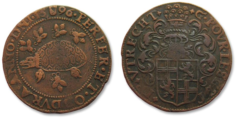 World Coins - AE jeton 1596 Spanish Netherlands, Utrecht: on the new heavy taxes on beer, butter & cheese