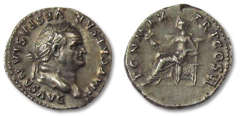 Ancient Coins - AR denarius Vespasian / Vespasianus, Rome 75 A.D.