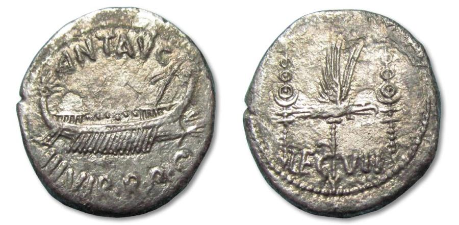 Ancient Coins - GD: AR denarius Marcus Antonius / Marc Antony, LEG VII, Patrae mint 32-31 B.C.