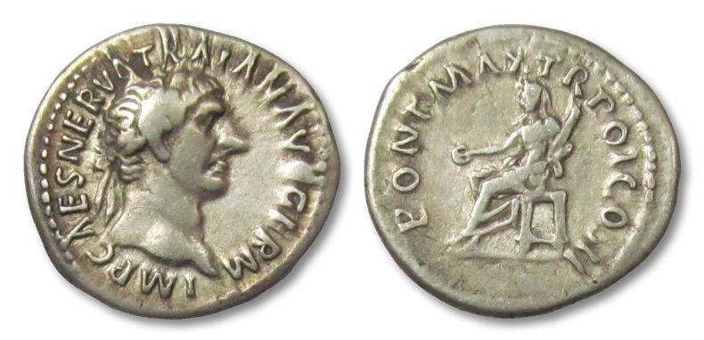 Ancient Coins - AR denarius Trajan / Trajanus, Rome 99 A.D. --VESTA seated left--