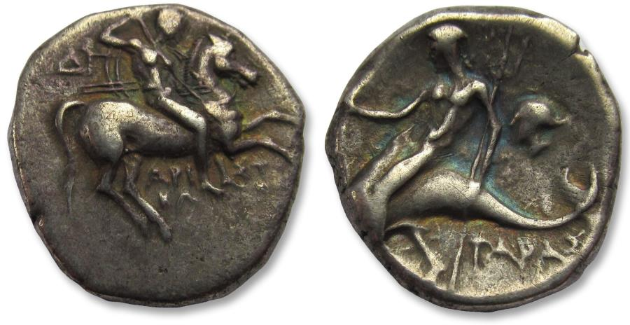 Ancient Coins - AR didrachm / stater Calabria, Tarentum 272-240 B.C. - Aristokles and Di- magistrates - with old collector ticket -