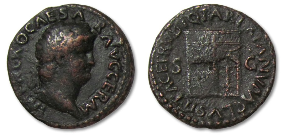 Ancient Coins - MO: AE26 As Nero, Temple of Janus, Rome 64-66 A.D.