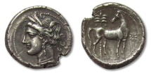 Ancient Coins - AR Shekel / Didrachm Carthage, Zeugitana, North Africa 300-264 B.C. -EF condition--