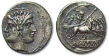 Ancient Coins - AR didrachm / quadrigatus Anonymous issue, pre-denarius time, Rome 225-212 B.C.