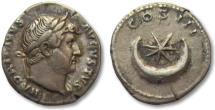 Ancient Coins - AR denarius Hadrian / Hadrianus, Rome 124-128 A.D. -- crescent moon --
