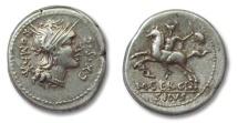 Ancient Coins - AR denarius M. Sergius Silus, Rome 116-115 BC