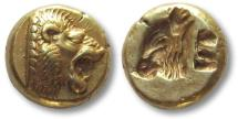 Ancient Coins - EL Hekte Lesbos, Mytilene 521-478 B.C.-- head of lion right, head of calf left --