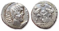 Ancient Coins - AR denarius L. Titurius L.f. Sabinus, Rome 89 B.C - the death of Tarpeia -