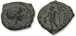 Ancient Coins - AE 18 (assarion) Julia Domna, - Nikopolis ad Istrum 193-217 A.D. -- Dionysos with grapes --