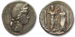 Ancient Coins - AR Denarius, C. Egnatius Cn.f. Cn.n. Maxsumus. Rome 75 B.C.