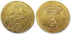 """Ancient Coins - AV/AU Dutch 14 gulden / guilder """"gold rider"""" (gouden rijder), Holland 1750"""
