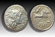 AR denarius Q. Fabius Labeo, Rome 124 B.C. - unusually well struck and centered & great toning -
