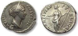 Ancient Coins - AR denarius Faustina II Junior, Rome 147-161 A.D. -- struck under Antoninus Pius --