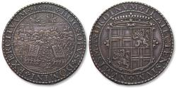 World Coins - RARE AR silver medal 1600 by C. van de Vogelaer: Dutch victory over the Spanish at the battle of Nieuwpoort