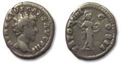 Ancient Coins - HS: AR denarius Marcus Aurelius as Caesar, Rome 159-160 A.D. --MINERVA--