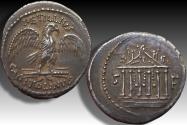 Ancient Coins - AR denarius, Petillius Capitolinus, Rome 43 B.C. - well centered & great toning -