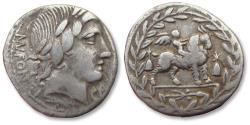Ancient Coins - AR denarius Mn. Fonteius C.f., Rome 85 B.C.