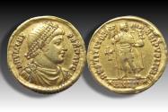AV gold solidus emperor Valens, Antioch mint circa 364-367 A.D. - *ANTΓ* in exergue -