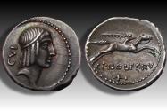 Ancient Coins - AR denarius L. Calpurnius Piso L.f. Frugi,  Rome mint 67 B.C. - control numbers CVI and dagger?, high quality coin -