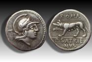 Ancient Coins - AR denarius P. Satrienus, Rome 77 B.C. -- iconic coin, beautifully centered --