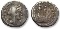 Ancient Coins - AR denarius L. Mussidius Longus, Rome 42 B.C. -- Shrine of Venus Cloacina --