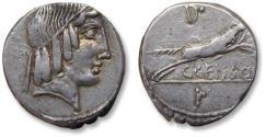 Ancient Coins - AR denarius C. Marcius Censorinus, Rome 88 B.C. - struck on compact flan at full weight -